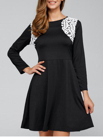 Trendy Zip Back Fit and Flare Splicing Dress