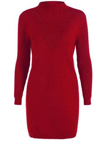 Outfit High Neck Sweater Ribbed Dress