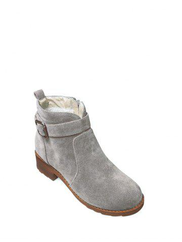 Discount Chunky Heel Buckle Flock Ankle Boots