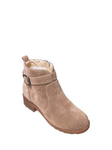 Shops Chunky Heel Buckle Flock Ankle Boots
