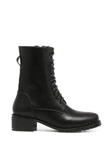 Online Tie Up Zipper PU Leather Short Boots