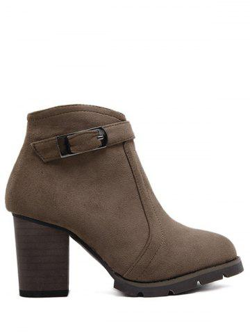 Buy Buckle Dark Colour Zipper Ankle Boots DARK COFFEE 39