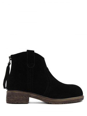 Store Suede Zipper Dark Colour Ankle Boots