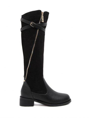 New Splicing Cross Straps Buckle Boots