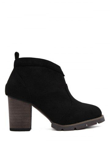 Chunky Heel Suede Dark Colour Ankle Boots - Black - 37