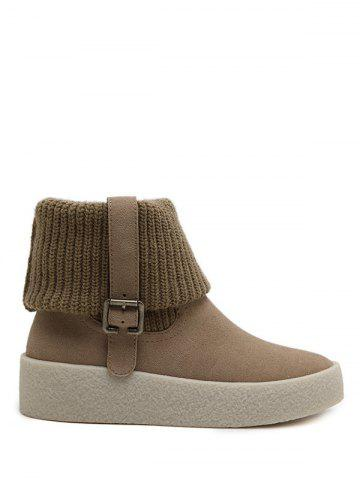 Chic Platform Knitting Buckle Snow Boots