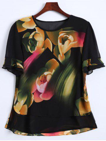 Outfits Flounce Sleeves Floral Chiffon T-Shirt