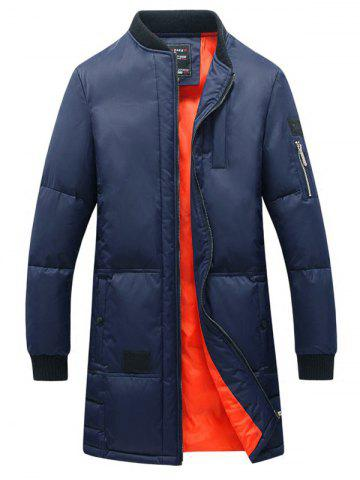 Store Rib Splicing Stand Collar Lengthen Cotton-Padded Zip-Up Coat