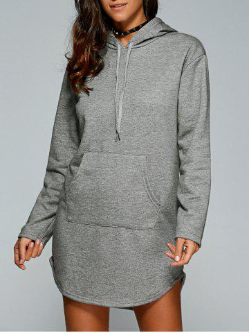 Online Drawstring Kangaroo Pocket Hoodie Dress GRAY 2XL