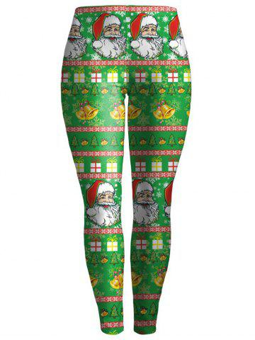 Sale Bodycon Christmas Leggings GREEN XL