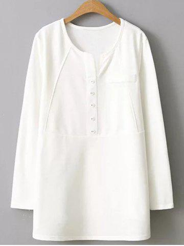 Chic Plus Size Button Embellished Blouse WHITE 2XL