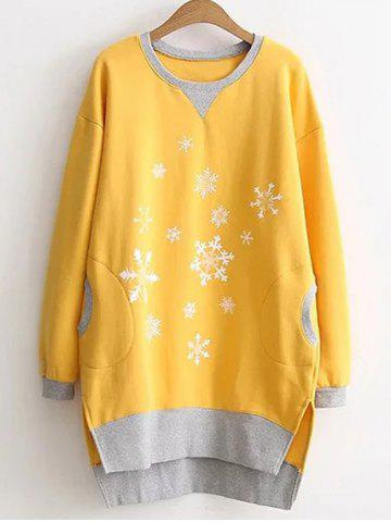 Fancy Plus Size Snowflake Print Pockets Design Sweatshirt