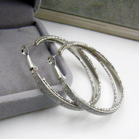Shop Dull Polished Circle Hoop Earrings - SILVER  Mobile