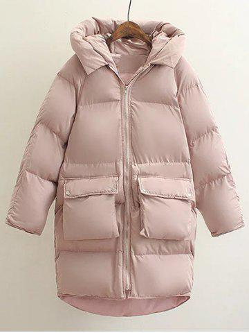 Shop Hooded Double Pocket Down Coat PINK L