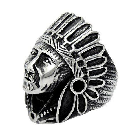 Chic Vintage Alloy Indian Chief Ring