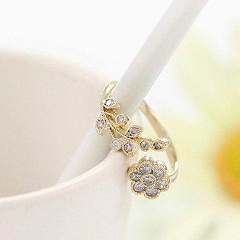 Latest Rhinestone Tree Leaf Floral Cuff Ring