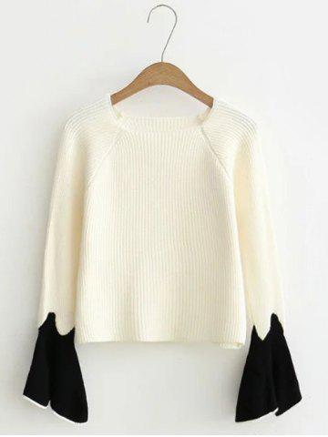 Fashion Flare Sleeve Short Color Block Knitwear