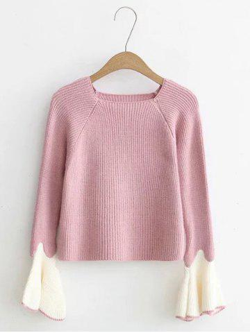 Cheap Flare Sleeve Short Color Block Knitwear