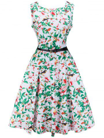 Unique Retro Sleeveless Printed Midi Dress