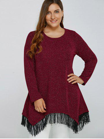 Trendy Asymmetric Gilding Fringed Blouse DEEP RED 4XL