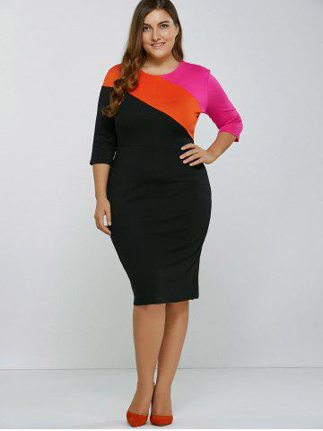 Outfits Color Spliced Slim Bodycon Dress BLACK 2XL