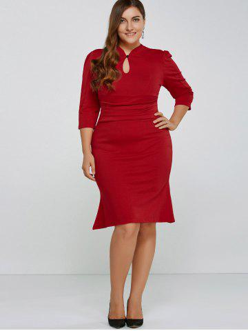 Shop Skinny Pleated Fishtail Design Bodycon Dress RED 2XL
