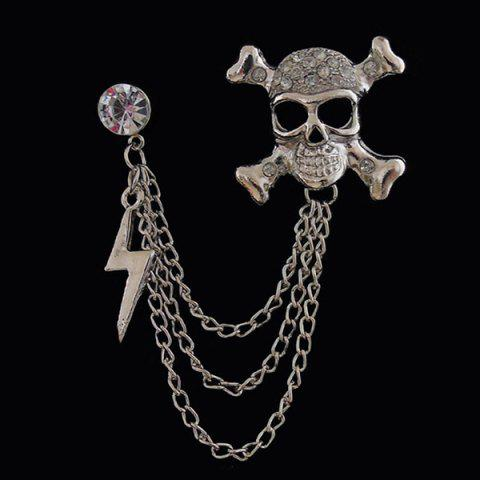 Fashion Rhinestone Skull Lightning Tassel Chains Brooch - SILVER  Mobile
