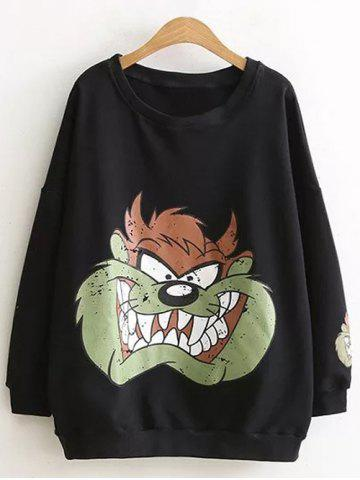 Fancy Drop Shoulder Cartoon Plus Size Sweatshirt