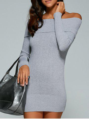Fashion Off The Shoulder Bodycon Short Jumper Dress GRAY ONE SIZE