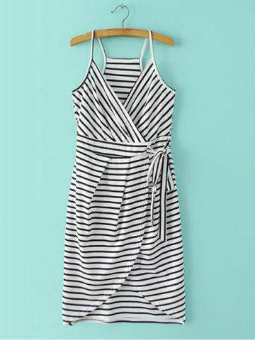 Buy Spaghetti Strap Stripe Surplice Dress