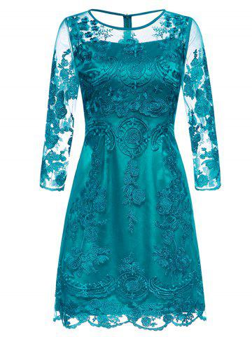 Outfits See-Through Floral Embroidered Lace Dress