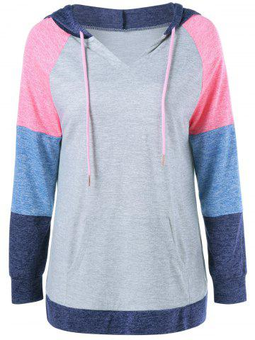 Fancy Patchwork Sleeve Drawstring Hoodie COLORMIX XL
