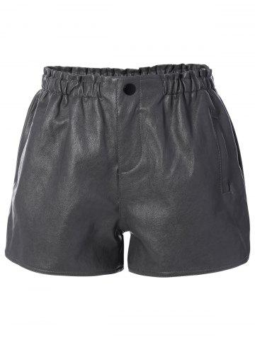 Sale High Waist Faux Leather Shorts with Pocket