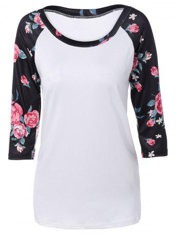 Outfit Autumn Floral Print Sleeve Casual T-Shirt WHITE XL