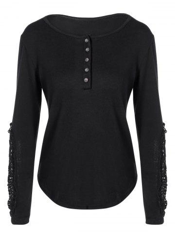 Unique Concise Openwork Lace Buttons T-Shirt BLACK 2XL