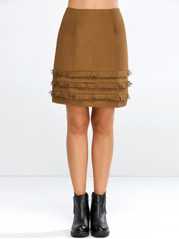 Cheap Faux Suede Skirt with Layered Tassel BROWN M