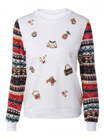 Store Festival Sequins Embroidery Christmas Graphic Sweatshirt WHITE L