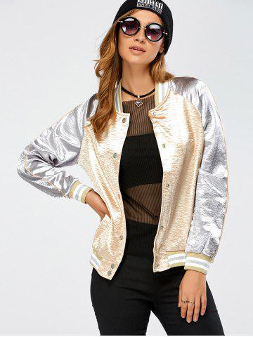 Fashion Autumn Lurex Color Block Baseball Jacket GOLDEN XL