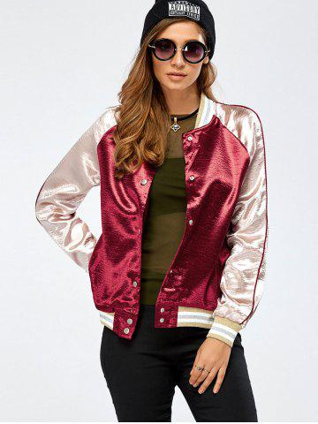 Trendy Autumn Lurex Color Block Baseball Jacket WINE RED XL