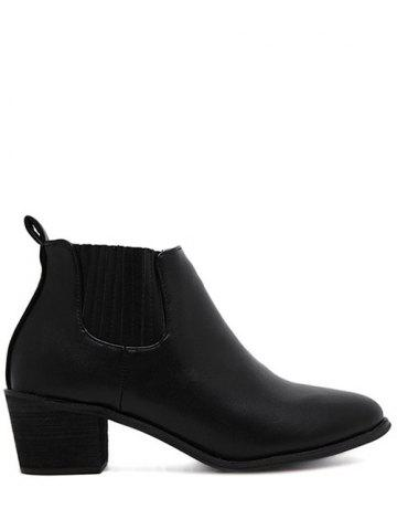 Shop Pointed Toe Stitching Chunky Heel Ankle Boots