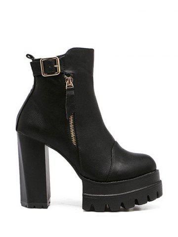 New Double Zipper Buckle Platform Ankle Boots BLACK 38