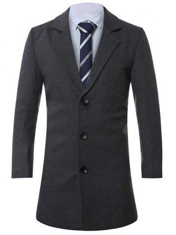 Sale Lapel Single-Breasted Lengthen Wool Coat DEEP GRAY XL