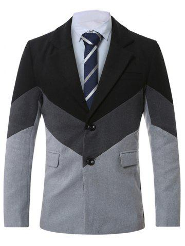 Fancy Lapel Single-Breasted Color Block Splicing Wool Coat