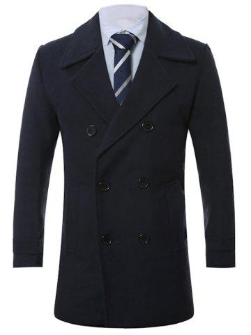 Chic Turn-Down Collar Lengthen Double-Breasted Wool Coat CADETBLUE 4XL