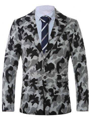 New Lapel Single-Breasted Camouflage Print Wool Coat GRAY 4XL