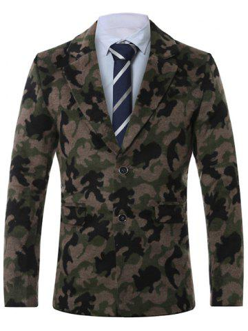 Lapel Single-Breasted Camouflage Print Wool Coat - Army Green - 4xl