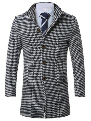 Cheap Lapel Single-Breasted Houndstooth Wool Coat