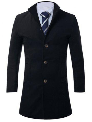 Latest Stand Collar Single Breasted Longline Wool Coat