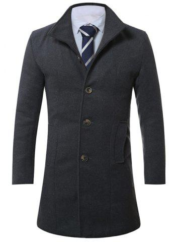 Best Stand Collar Single Breasted Longline Wool Coat GRAY XL