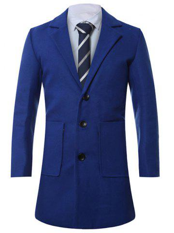 Store Lapel Single-Breasted Lengthen Pocket Wool Coat SAPPHIRE BLUE XL